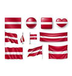 set latvia flags banners banners symbols flat vector image