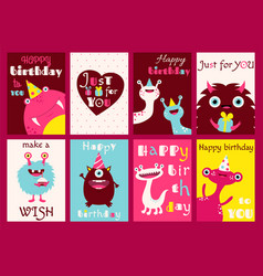 Set of birthday banners with cute monsters vector