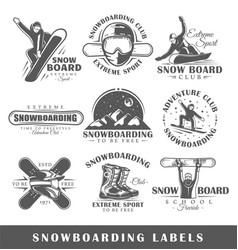 set vintage snowboarding labels vector image
