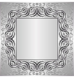 Silver background with decorative frame vector