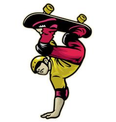 skater doing hand stand trick skateboard vector image