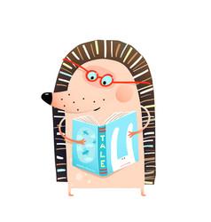smart adorable baby hedgehog reading book vector image