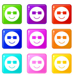 Smiling emoticons 9 set vector