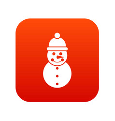 snowman icon digital red vector image