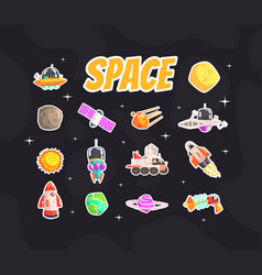 space stickers collection fashion badges patches vector image