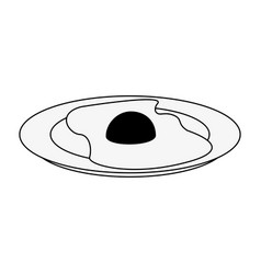 sunny egg on dish vector image