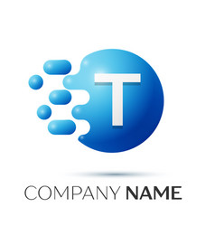 T letter splash logo blue dots and circle bubble vector