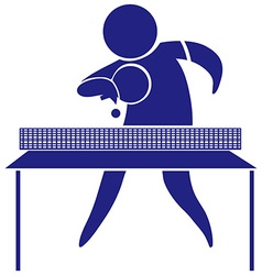 Table tennis icon in blue vector