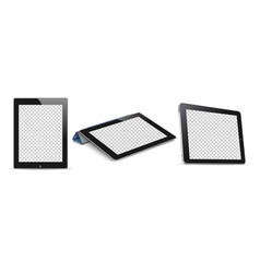 tablet computer pc with transparent screen vector image