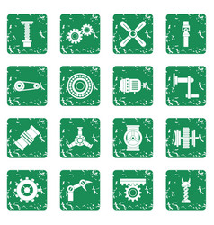 Techno mechanisms kit icons set grunge vector