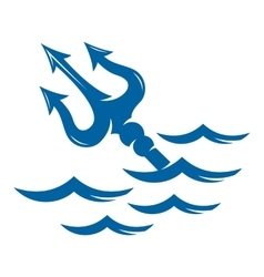Trident on the waves logo vector