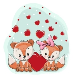 Two foxes with heart vector image