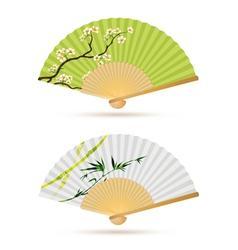 Two japanese folding fans vector