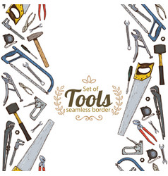 vertical seamless borders of repair tools icons vector image