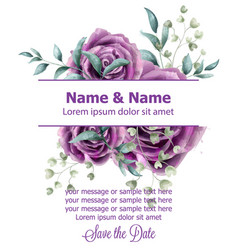 wedding invitation card with roses flowers vector image