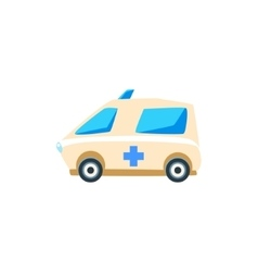 White Ambulance Toy Cute Car Icon vector image