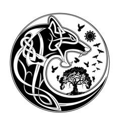 wolf yin yang celtik 4 vector image