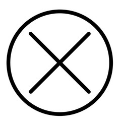 X button line icon cross in circle vector