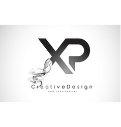 Xp letter logo design with black smoke vector