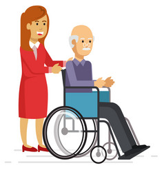 young woman helping an elderly man with a walker vector image