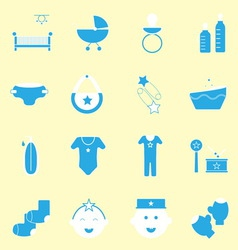 Baby blue color icons set vector image