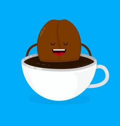 cute smiling happy coffee bean lies vector image