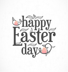 easter greeting card with leaves and eggs vector image