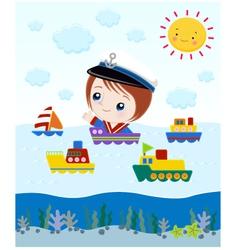 ship cartoon vector image vector image
