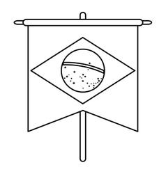 brasilian flag hanging symbol outline vector image
