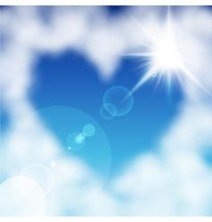 cloud heart sun vector image