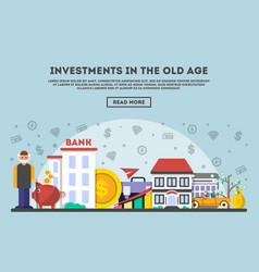Investments in the old age concept in flat design vector