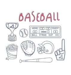 Baseball Related Object And Equipment Set vector image vector image
