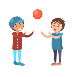 boys play in volleyball isolated vector image