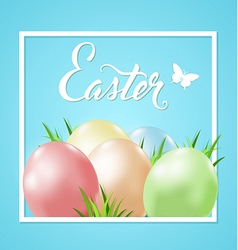 Easter card with eggs and green grass vector image