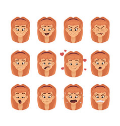 emotions girl teen character isolated faces vector image