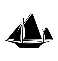 flat yacht icon boat logo on white background vector image