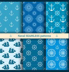 marine nautical sea seamless patterns set vector image vector image