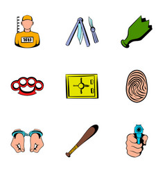 prisoner icons set cartoon style vector image