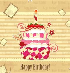 strawberry birthday cake vector image vector image