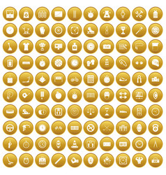 100 stopwatch icons set gold vector