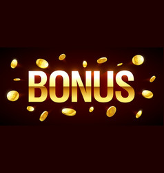bonus gambling games casino banner with bonus vector image