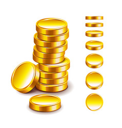 golden coin isolated on white vector image vector image