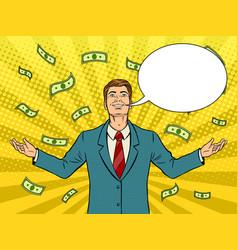 happy businessman rain pop art vector image