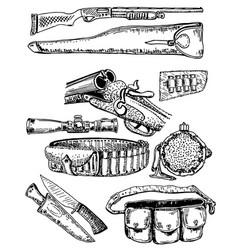 ink hand drawn hunting equipment set vector image vector image