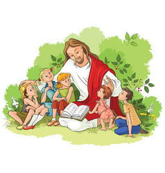 jesus reading the bible to children vector image vector image