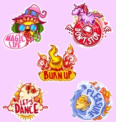 Set of five stickers for party vector