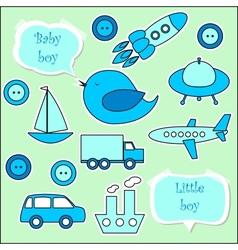 Set of scrapbook elements for baby boy vector image vector image