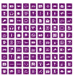 100 audio icons set grunge purple vector image