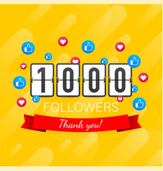 1000 followers thank you social sites post thank vector image