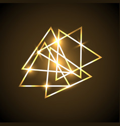 Abstract background with gold neon triangles vector
